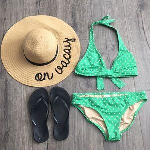 J Crew green polka dot bikini
